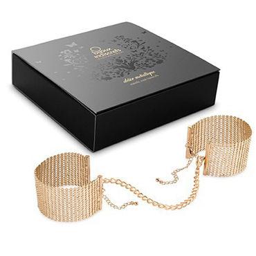 Bijoux Indiscrets Desir Metallique, золотые Дизайнерские наручники lola toys back door small ripple plug розовая маленькая анальная пробка с волнистым рельефом