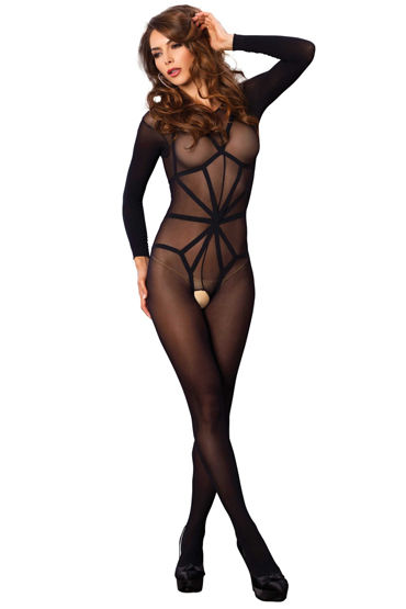 Leg Avenue Harness Teddy Overlay Bodystocking, черный