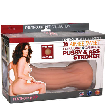 Topco Penthouse Pet Collection Aimee Sweet Extra Long Pussy & Ass, телесный Двухсторонний мастурбатор я topco pet pussyamp ass mckenzee miles