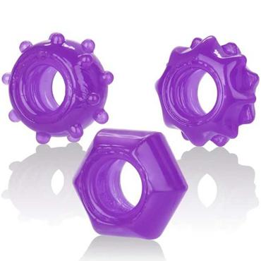 California Exotic Reversible Ring Set, фиолетовый Набор из 3 эрекционных колец screaming o vibroman голубой набор из 3 виброигрушек