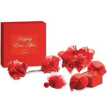 Bijoux Indiscrets Happily Ever After, красный Набор из подвязки, наручников, украшения на грудь, кисточки и трусики тонги coquette