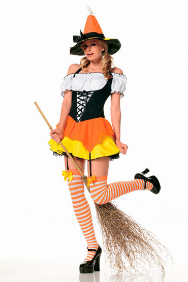 Leg Avenue Ведьмочка Со шляпой и чулочками leg avenue трусики черно красные кружевные со шнуровкой сзади