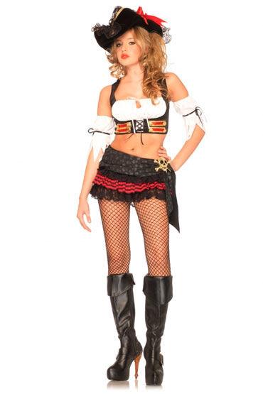 Leg Avenue Пиратка С корсетом и нарукавниками leg avenue королева зазеркалья платье с нарукавниками и короной