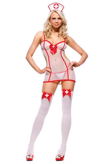 Leg Avenue Медсестра Платье, стринги и чепчик вибраторы реалистики цвет белый экран