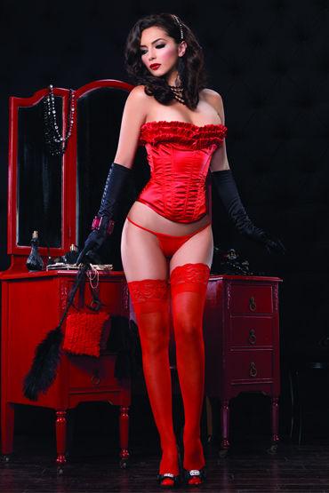 Leg Avenue корсет, красный Украшен очаровательными рюшами leg avenue комплект красный полупрозрачный с рюшами