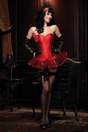 Leg Avenue Пейдж, красный Сексапильный корсет без бретелек shirley колготки в крупную сетку