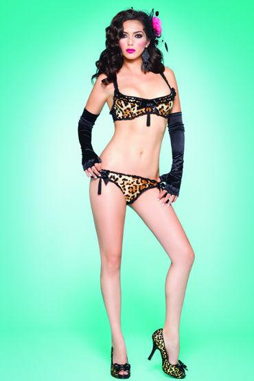 Leg Avenue комплект Леопардовый, с кисточками leg avenue трусики черно красные кружевные со шнуровкой сзади