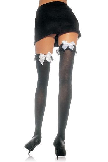 Leg Avenue чулки, черные С белым бантиком leg avenue колготки черные со швом сзади