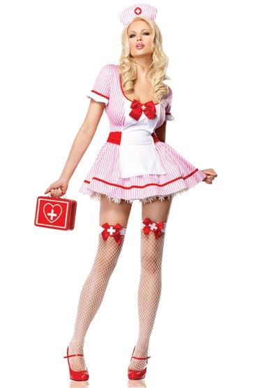 Leg Avenue чулки, белые Для костюма медсестры в продлевающие смазки bioritm