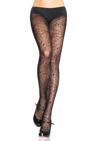 Leg Avenue колготки, черные С рисунком ''паутинка'' leg avenue колготки с цветочным рисунком