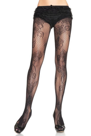 Leg Avenue Jacquard Колготы с принтом ''розы'' leg avenue колготки черные в сеточку