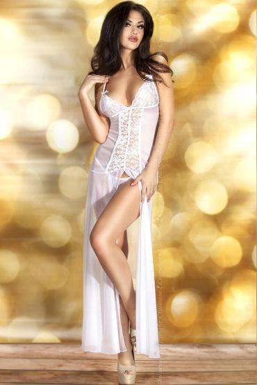 ChiliRose комплект, белый Длинная сорочка и стринги chilirose эротичная сорочка с цветочным узором