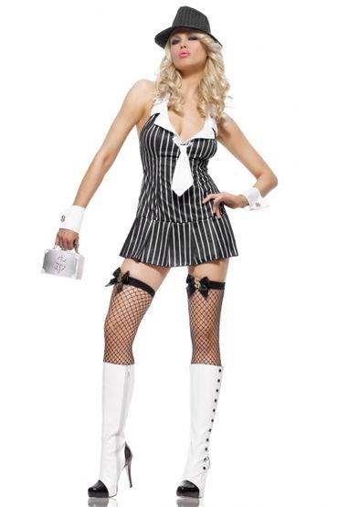 Leg Avenue Мисс Мафия, черно-белый С галстуком и манжетами baci пленница секса топ мини юбка и манжеты на цепочке