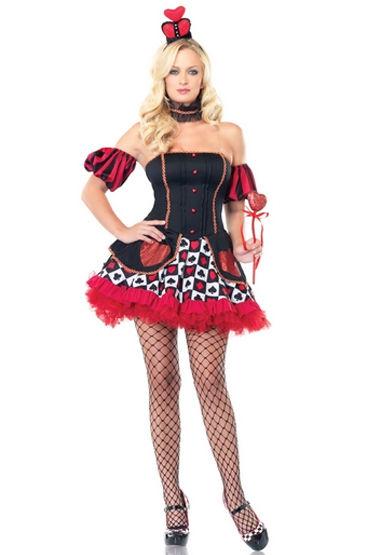 Leg Avenue Королева Зазеркалья Платье с нарукавниками и короной baci пленница секса топ мини юбка и манжеты на цепочке