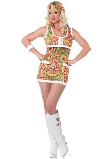 Leg Avenue Far Out Hippie Яркое мини-платье и повязка на голову model rene rofe