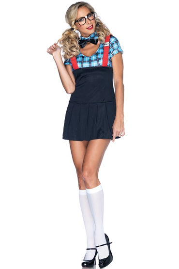 Leg Avenue Развратная Cтудентка Платье, галстук-бабочка, очки и трусики bioclon анальный стимулятор телесный в форме пениса