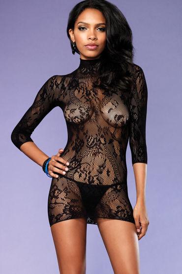 Leg Avenue мини-платье, черное С обнаженной спинкой leg avenue мини платье с ажурными вставками