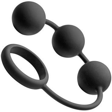 Tom of Finland Silicone Cock Ring with 3 Weighted Balls, черные Анальные шарики с эрекционным кольцом набор ultimate bondage kit