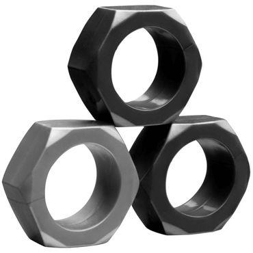 Tom of Finland 3 Piece Cock Nuts, черный Комплект из эрекционных колец odeco o zone оранжевый
