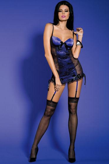 Dolce Piccante Сорочка, черная С пажами для чулок и атласными вставками анальная пробка из алюминия kanikule фиолетовая
