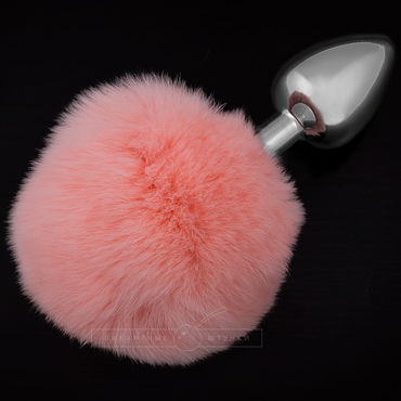 Пикантные штучки Маленькая анальная пробка, серебристая С пушистым розовым хвостиком пикантные штучки большая анальная пробка серебристая с розовым кристаллом