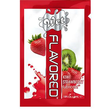 Wet Flavored Kiwi Strawberry, 3 мл Лубрикант с ароматом клубники и киви toyfa popo pleasure анальная вибропробка 13 6 см классической формы