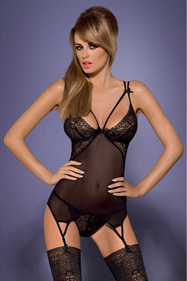 Obsessive Intensa Corset, черный Полупрозрачный корсет костюм obsessive stewardess corset s m
