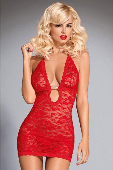 Obsessive Brilliant Jennifer, красное Мини платье с глубоким декольте ouch leather cross tipped crop фиолетовый стек со шлепком в форме креста