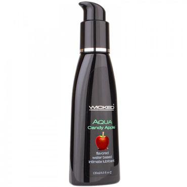 Wicked Aqua Candy Apple, 120мл Съедобный лубрикант со вкусом яблока в карамельной глазури и hustler галстук