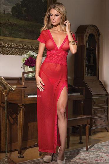 Coquette ночное платье, красное С глубоким декольте и короткими рукавчиками coquette ночное платье черное с обнаженной спинкой
