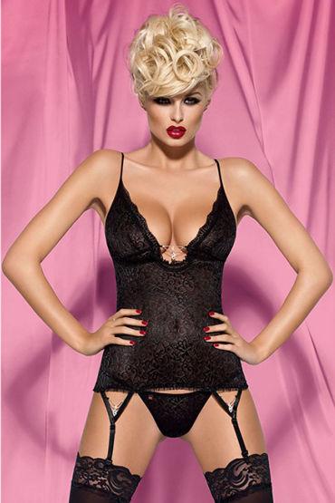 Obsessive Diamond Corset, черный Цветочный корсет и трусики obsessive diamond corset черный цветочный корсет и трусики