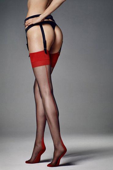 Veneziana Calze Leticia, черные С красной резинкой и стрелкой veneziana emma черные чулки с кружевной резинкой