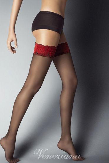 Veneziana Alessandra, черные Чулки с красной резинкой чулки temptlife с имитацией шнуровки черные os