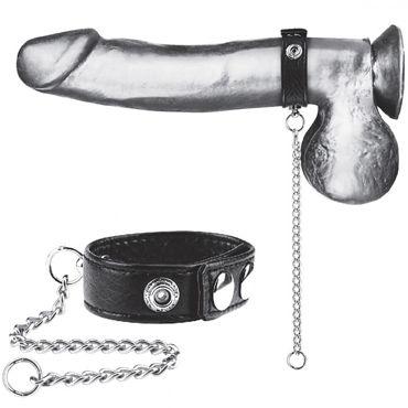 Blue Line Snap Cock Ring With Leash, черное Кольцо на пенис из экокожи с поводком из металла blue line 1 velctro ball stretcher черный болстретчер на липучке