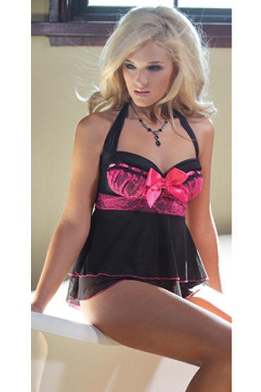Coquette комплект Сорочка и стринги с розовой отделкой анальная пробка b vibe snug plug 3 черная