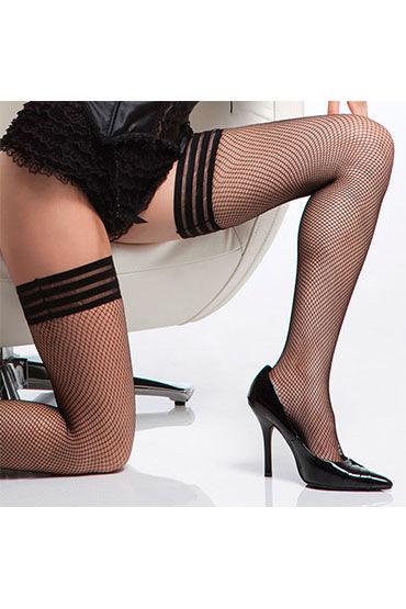 Coquette Dream, черные Чулки с красивой резинкой из трех полосочек черные чулки с поясом gabriella silvana размер s m