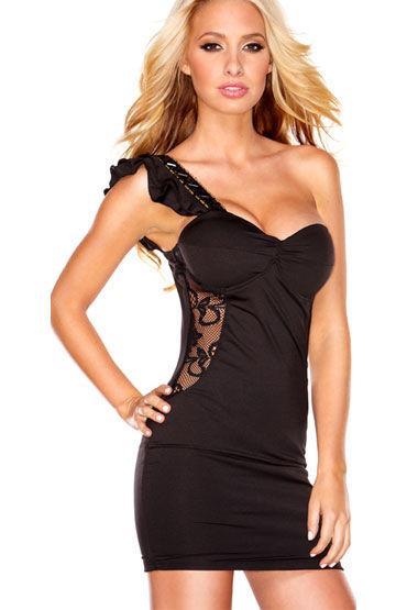 Hustler Lace Passion Клубное платье с бретелью на одно плечо hustler the sparkling queen черный сексапильное платье бандо