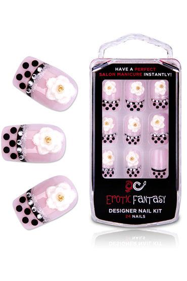 Erotic Fantasy Black Dots Типсы для ногтей из акрила erotic fantasy amanite акриловые типсы в горошек