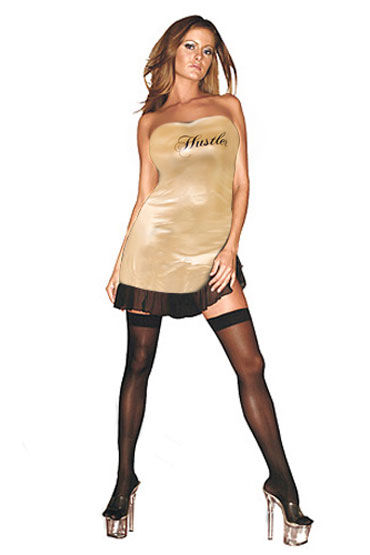 Hustler платье, золотое С надписью Hustler на груди hustler the sparkling queen черный сексапильное платье бандо