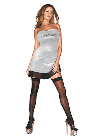 Hustler платье, серебристое С надписью Hustler на груди hustler the sparkling queen черный сексапильное платье бандо