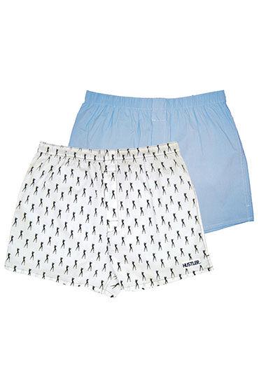Hustler шорты, бело-голубые Две пары: однотонные и с принтом мужские хлопковые трусы шорты hustler розовые и с танцовщицами размер l