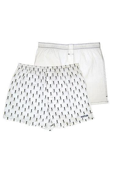 Hustler шорты, белые Две пары: однотонные и с принтом мужские хлопковые трусы шорты hustler розовые и с танцовщицами размер l