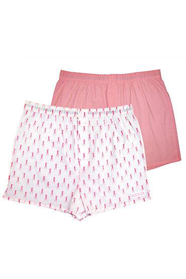 Hustler шорты, розово-белые Две пары: однотонные и с принтом мужские хлопковые трусы шорты hustler розовые и с танцовщицами размер l