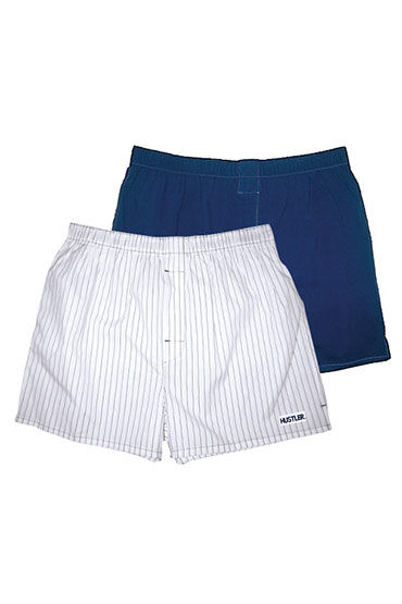 Hustler шорты, бело-синие Две пары: однотонные и в полоску мужские хлопковые трусы шорты hustler розовые и с танцовщицами размер l