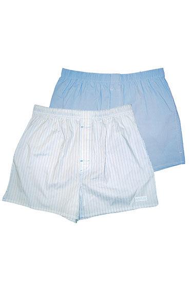 Hustler шорты, бело-голубые Две пары: однотонные и в полоску мужские хлопковые трусы шорты hustler розовые и с танцовщицами размер l