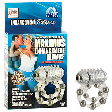 California Exotic Maximus Ring 10 Stroke Beads Эрекционное кольцо с виброэлементом эрекционное кольцо vibrating ring со стимулятором клитора с вибрацией черное