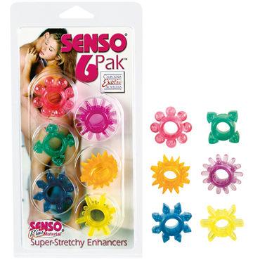 California Exotic Senso 6 Pak Набор из шести разноцветных колец california exotic intimate ring ribbed кольцо на пенис