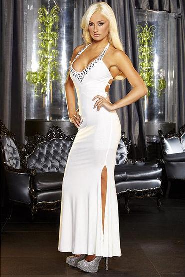 Hustler платье, белое С разрезом и глубоким декольте вечернее платье xinbai li xlf015 2015
