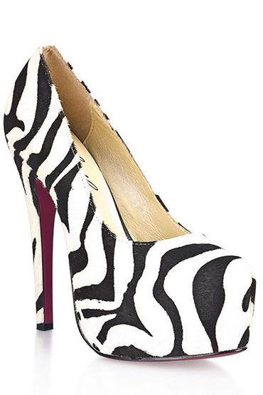 Hustler Black&White Туфли на высокой шпильке Из искусственной шерсти зебры