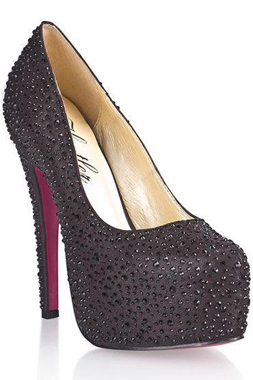 Hustler Black Diamond Туфли на высокой шпильке Декорированы черными кристаллами hustler black diamond туфли на высокой шпильке декорированы черными кристаллами